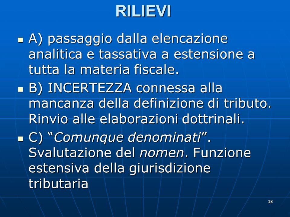 18 RILIEVI A) passaggio dalla elencazione analitica e tassativa a estensione a tutta la materia fiscale. A) passaggio dalla elencazione analitica e ta