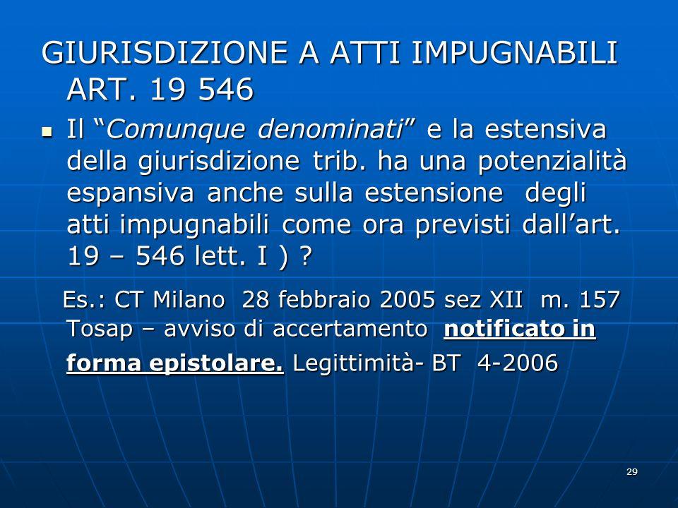 29 GIURISDIZIONE A ATTI IMPUGNABILI ART. 19 546 Il Comunque denominati e la estensiva della giurisdizione trib. ha una potenzialità espansiva anche su