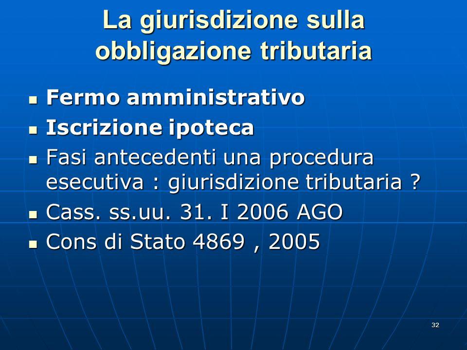 32 La giurisdizione sulla obbligazione tributaria Fermo amministrativo Fermo amministrativo Iscrizione ipoteca Iscrizione ipoteca Fasi antecedenti una