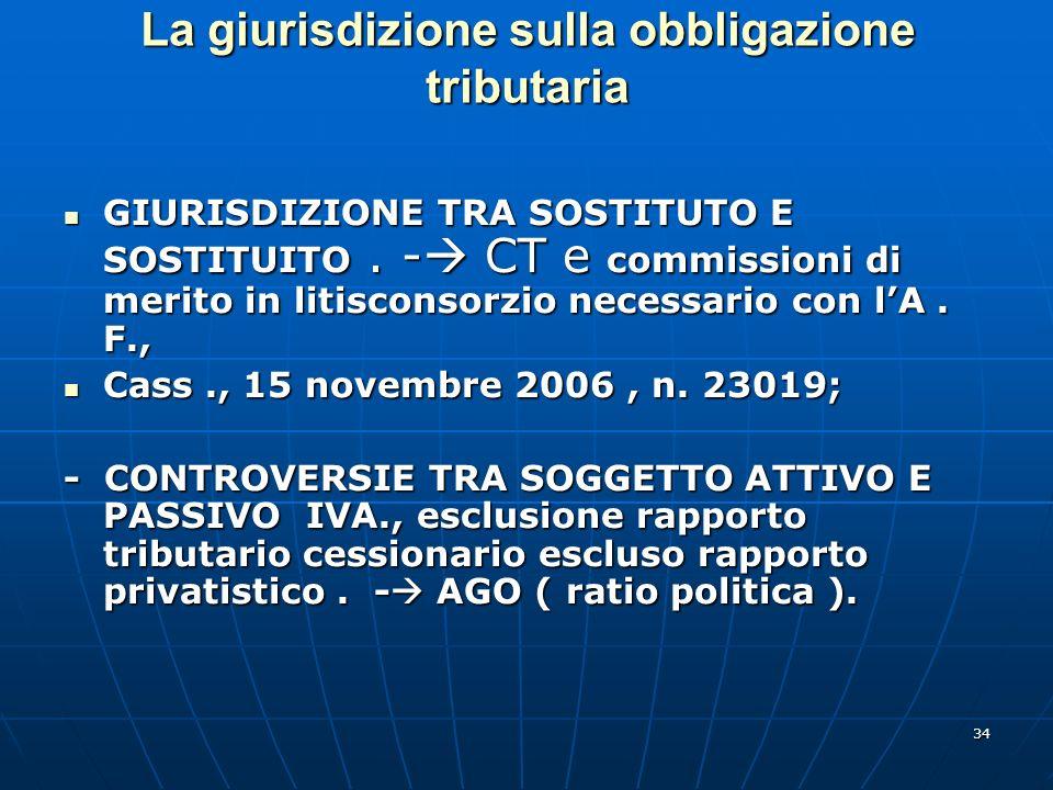 34 La giurisdizione sulla obbligazione tributaria GIURISDIZIONE TRA SOSTITUTO E SOSTITUITO. - CT e commissioni di merito in litisconsorzio necessario