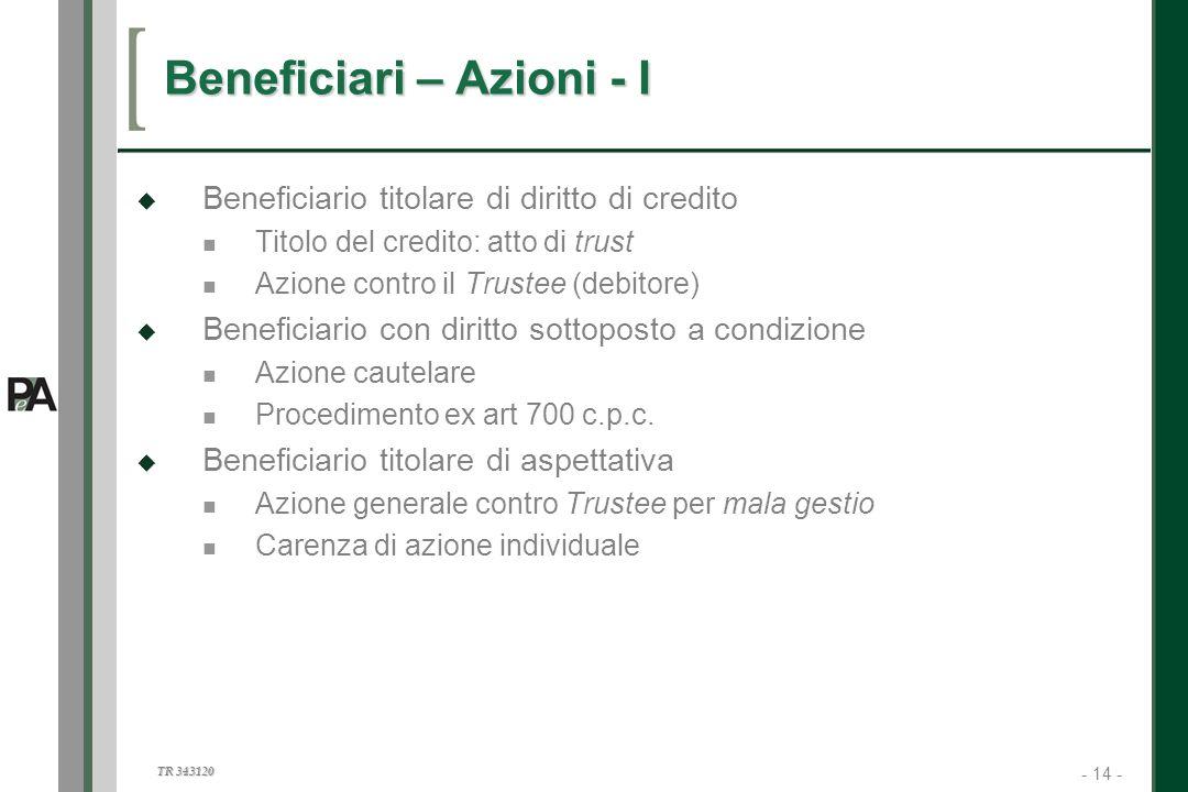 - 14 - TR 343120 14 Beneficiari – Azioni - I Beneficiario titolare di diritto di credito Titolo del credito: atto di trust Azione contro il Trustee (d