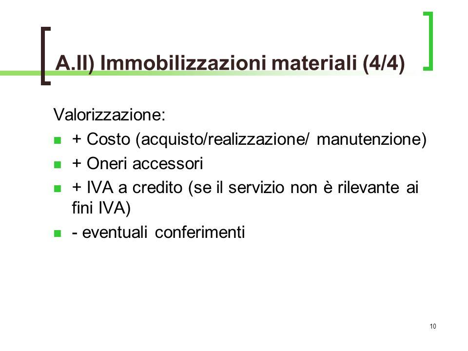 10 Valorizzazione: + Costo (acquisto/realizzazione/ manutenzione) + Oneri accessori + IVA a credito (se il servizio non è rilevante ai fini IVA) - eventuali conferimenti A.II) Immobilizzazioni materiali (4/4)