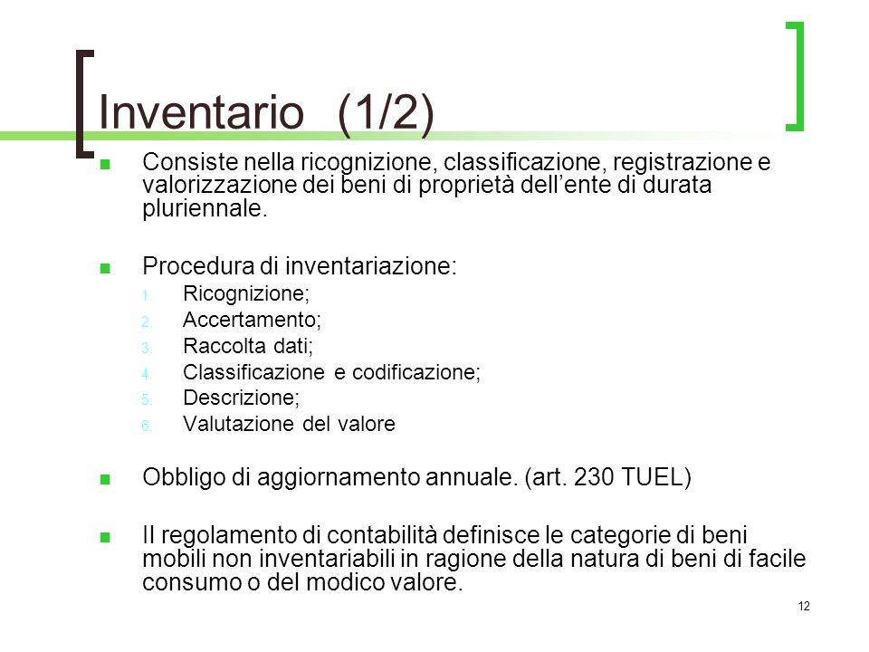 12 Inventario (1/2) Consiste nella ricognizione, classificazione, registrazione e valorizzazione dei beni di proprietà dellente di durata pluriennale.