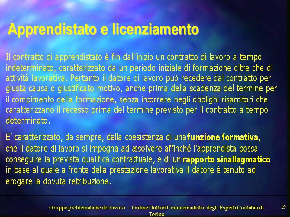 Gruppo problematiche del lavoro - Ordine Dottori Commercialisti e degli Esperti Contabili di Torino 19 Apprendistato e licenziamento