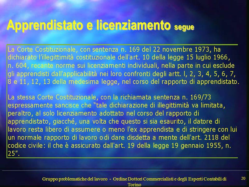 Gruppo problematiche del lavoro - Ordine Dottori Commercialisti e degli Esperti Contabili di Torino 20 Apprendistato e licenziamento segue