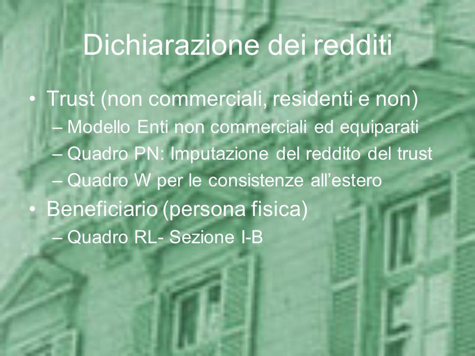 Dichiarazione dei redditi Trust (non commerciali, residenti e non) –Modello Enti non commerciali ed equiparati –Quadro PN: Imputazione del reddito del