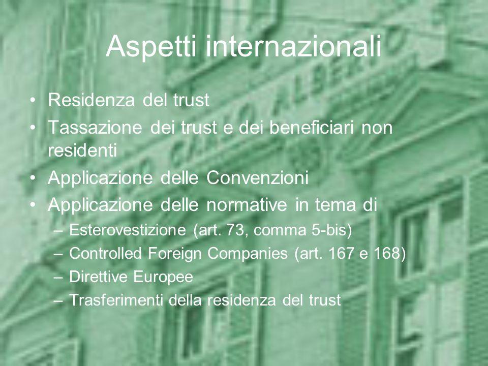 Aspetti internazionali Residenza del trust Tassazione dei trust e dei beneficiari non residenti Applicazione delle Convenzioni Applicazione delle norm