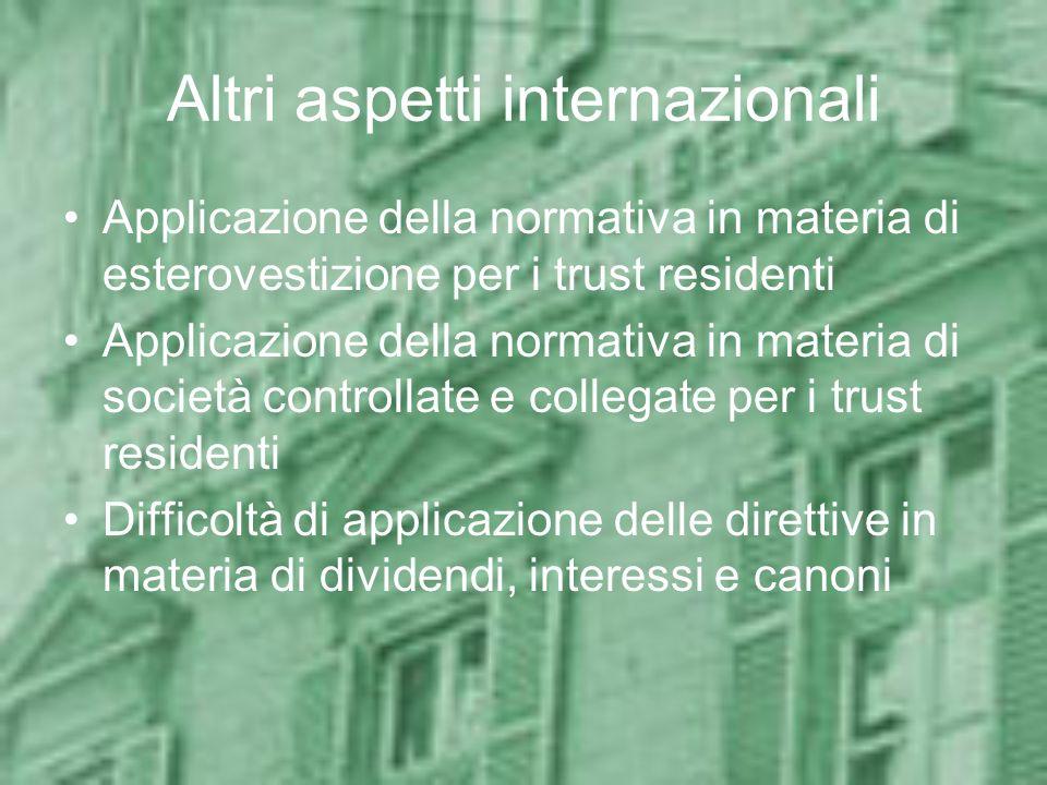 Altri aspetti internazionali Applicazione della normativa in materia di esterovestizione per i trust residenti Applicazione della normativa in materia