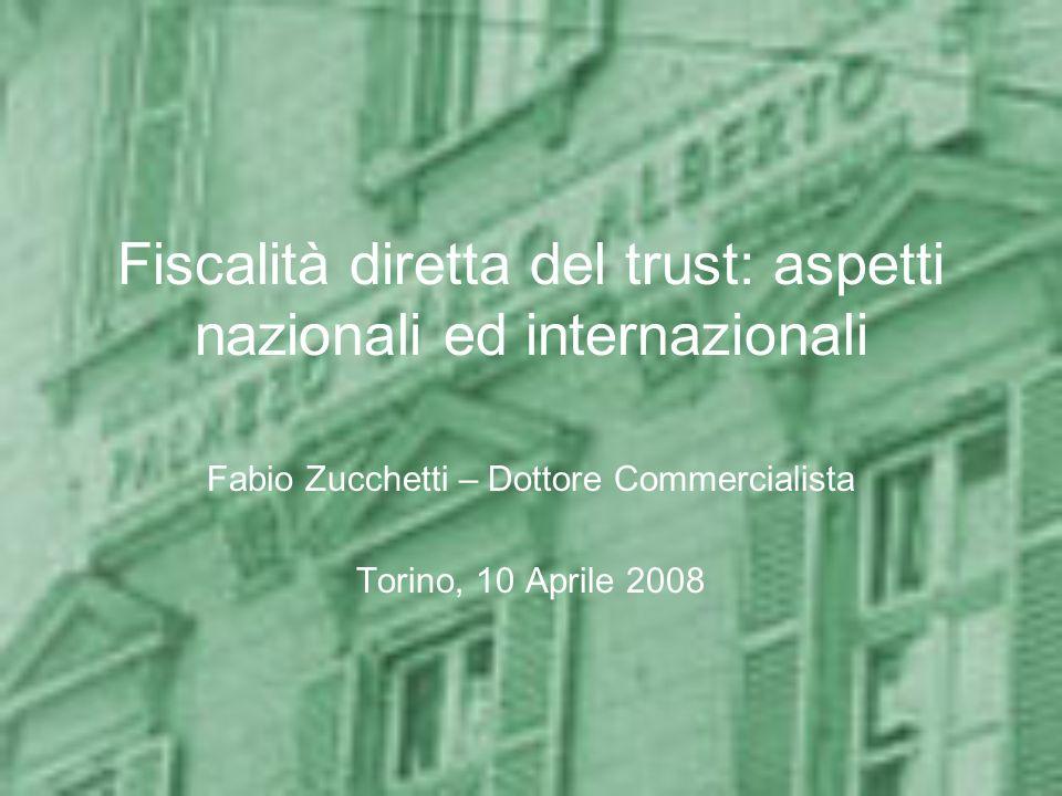 Aspetti internazionali Residenza del trust Tassazione dei trust e dei beneficiari non residenti Applicazione delle Convenzioni Applicazione delle normative in tema di –Esterovestizione (art.