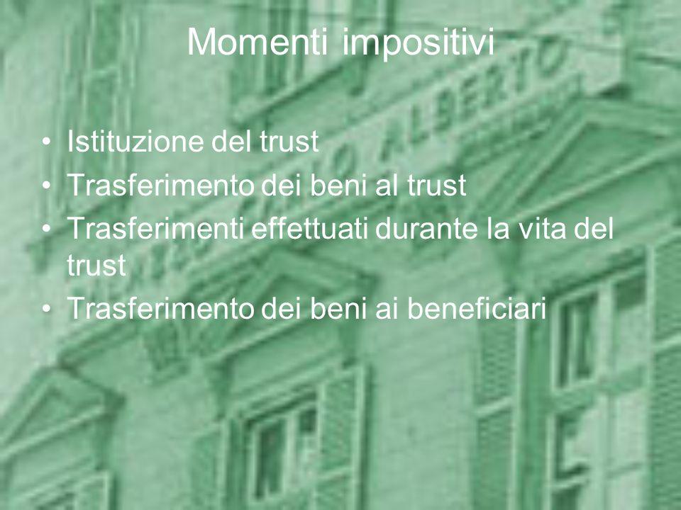 Momenti impositivi Istituzione del trust Trasferimento dei beni al trust Trasferimenti effettuati durante la vita del trust Trasferimento dei beni ai