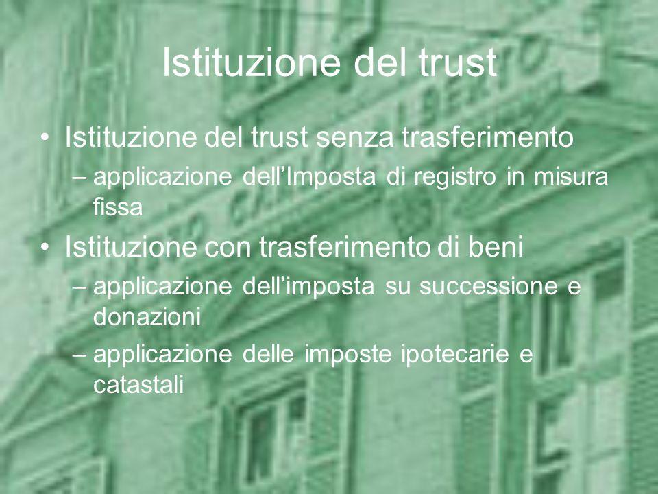Istituzione del trust Istituzione del trust senza trasferimento –applicazione dellImposta di registro in misura fissa Istituzione con trasferimento di