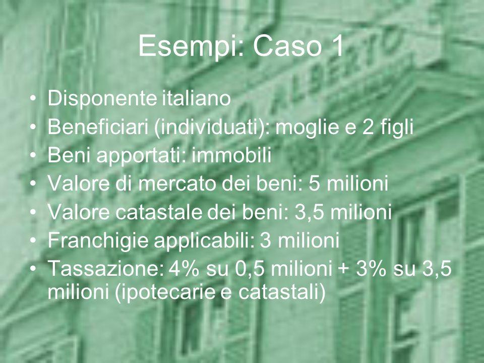 Esempi: Caso 1 Disponente italiano Beneficiari (individuati): moglie e 2 figli Beni apportati: immobili Valore di mercato dei beni: 5 milioni Valore c