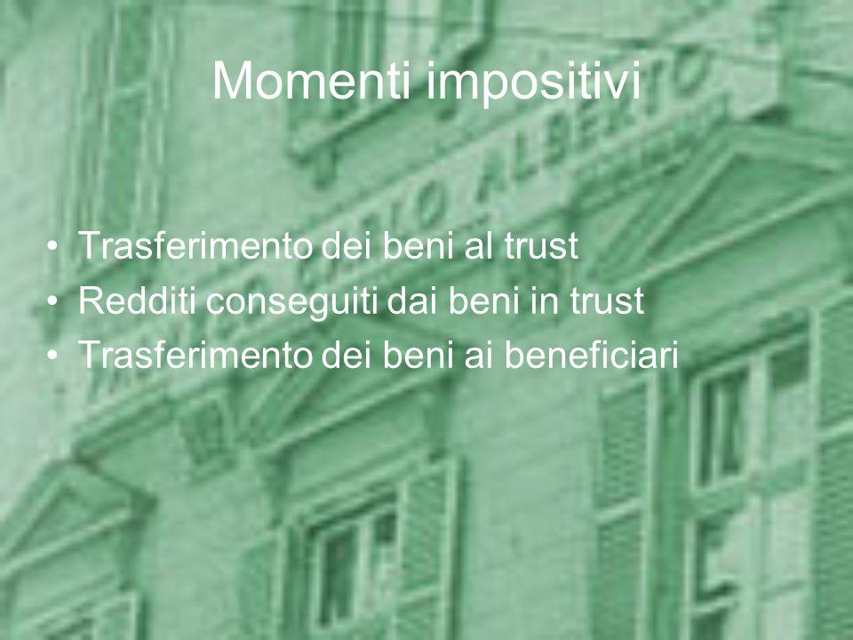 Residenza del trust: condizioni Condizioni per la residenza in Italia –Sede legale –Sede dellamministrazione –Oggetto dellattività (patrimonio prevalente) Presunzioni antielusive di residenza –Condizioni soggettive –Condizioni oggettive