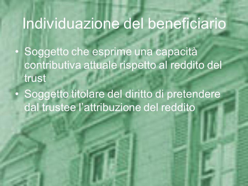 Tassazione dei trust residenti Con beneficiari non individuati –Sempre tassati in Italia Con beneficiari individuati –Beneficiari residenti: tassati i beneficiari –Beneficiari non residenti: tassati in quanto percettori di reddito prodotto in Italia