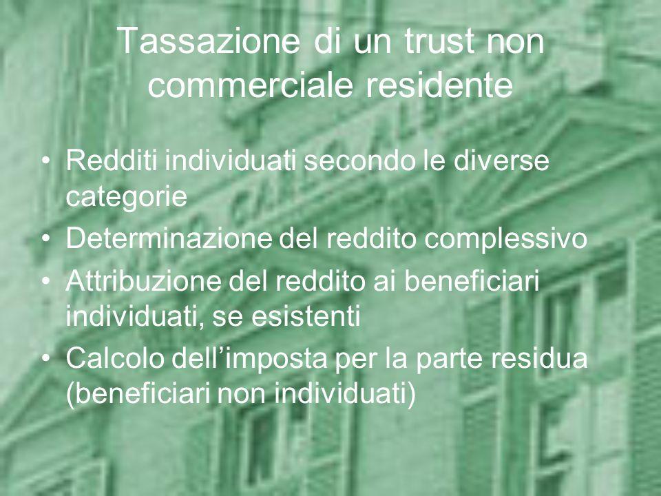 Esempi: Caso 2 Disponente italiano Classe fissa di beneficiari (individuati): moglie e figli Beni apportati: azioni ed obbligazioni Valore dei beni: 2,5 milioni Franchigie applicabili: nessuna Tassazione: 4% su 2,5 milioni