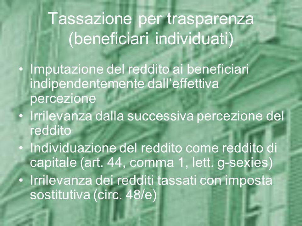 Tassazione per trasparenza (beneficiari individuati) Imputazione del reddito ai beneficiari indipendentemente dalleffettiva percezione Irrilevanza dal