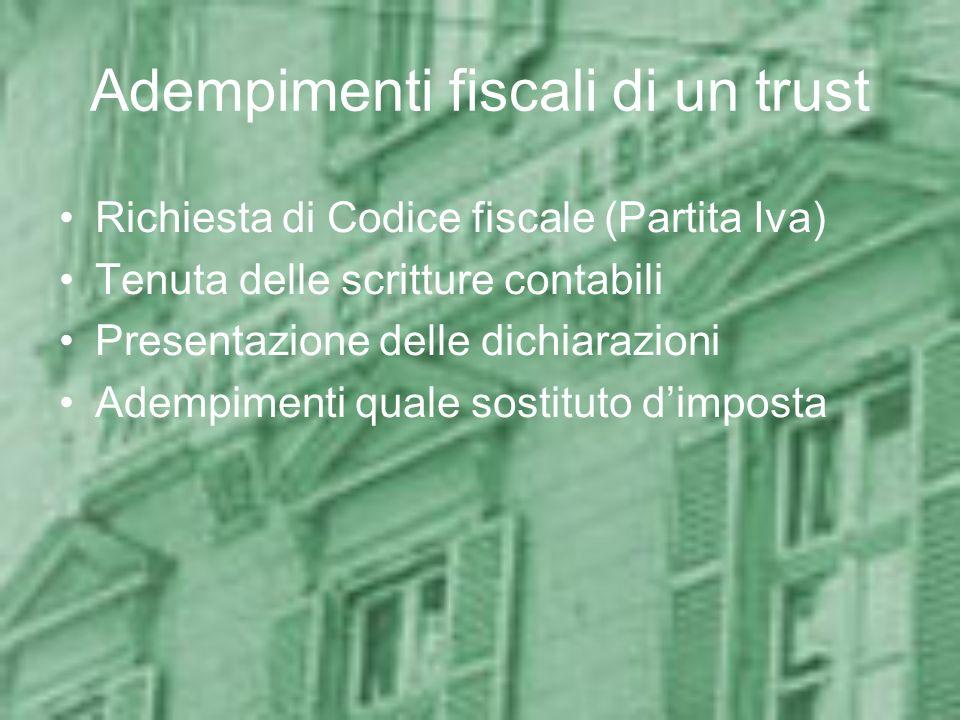 Esempi: Caso 4 Disponente italiano Beneficiari: non individuati Beni apportati: immobili e partecipazione azionaria non quotata Valore di mercato dei beni: 6 milioni (2,5 milioni in immobili, 3,5 milioni in azioni) Valore catastale degli immobili: 1 milione Quota PN della società: 1 milione Franchigie applicabili: nessuna Tassazione: 8% su 2 milioni + 3% su 1 milione