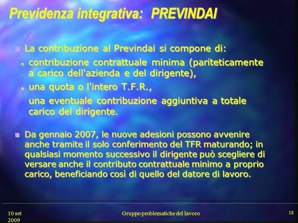 10 set 2009 Gruppo problematiche del lavoro 18 Previdenza integrativa: PREVINDAI Previdenza integrativa: PREVINDAI La contribuzione al Previndai si co