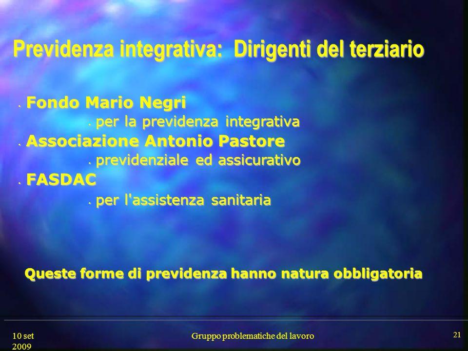 10 set 2009 Gruppo problematiche del lavoro 21 Previdenza integrativa: Dirigenti del terziario Fondo Mario Negri Fondo Mario Negri per la previdenza i