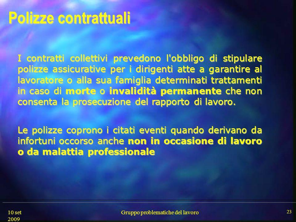 10 set 2009 Gruppo problematiche del lavoro 23 Polizze contrattuali Polizze contrattuali I contratti collettivi prevedono l'obbligo di stipulare poliz