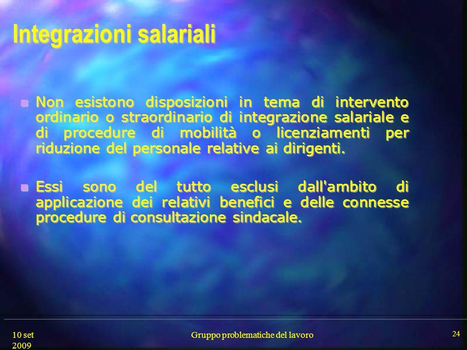 10 set 2009 Gruppo problematiche del lavoro 24 Integrazioni salariali Non esistono disposizioni in tema di intervento ordinario o straordinario di int