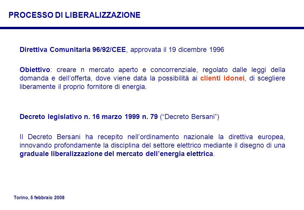 Torino, 5 febbraio 2008 Direttiva Comunitaria 96/92/CEE, approvata il 19 dicembre 1996 Obiettivo: creare n mercato aperto e concorrenziale, regolato d