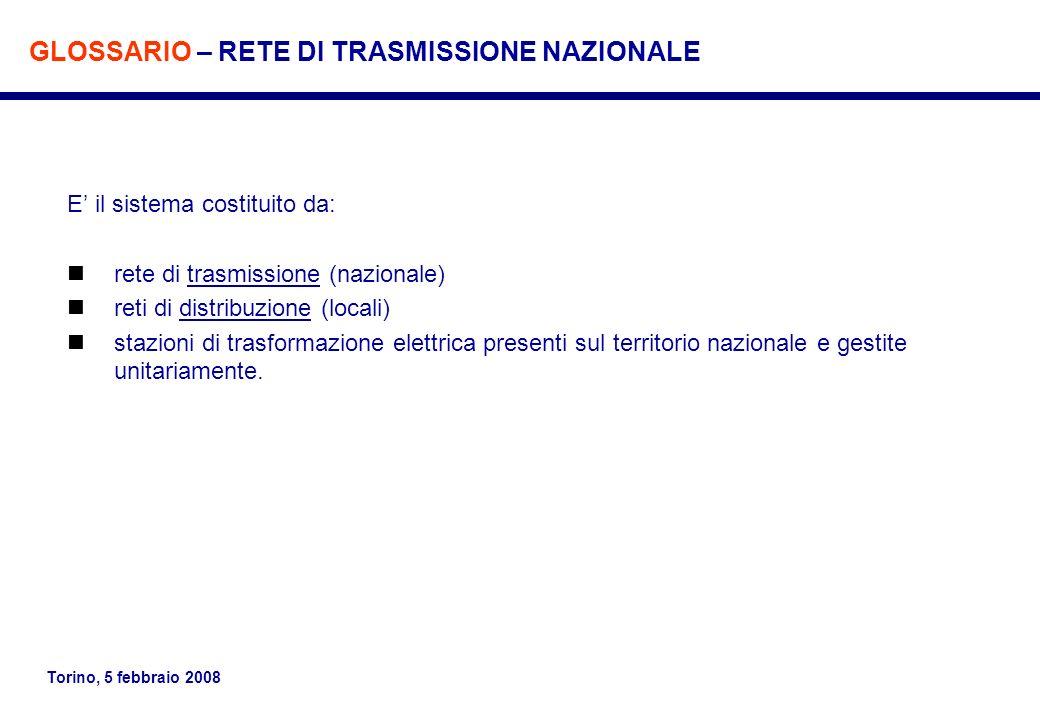 Torino, 5 febbraio 2008 E il sistema costituito da: rete di trasmissione (nazionale) reti di distribuzione (locali) stazioni di trasformazione elettri