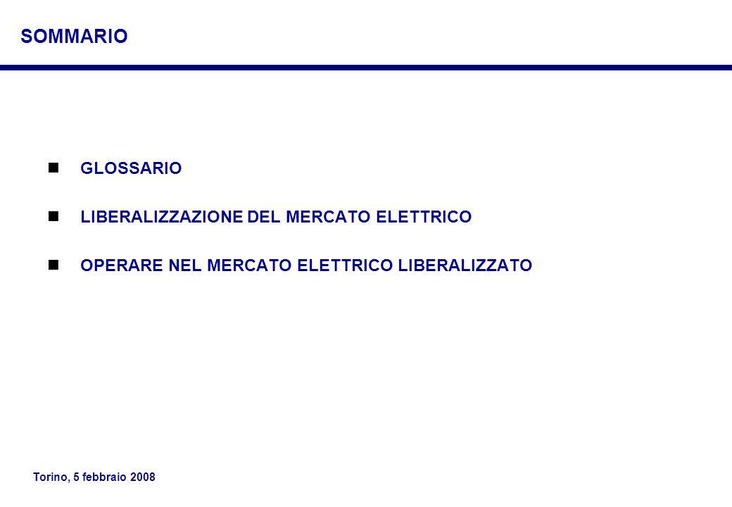 Torino, 5 febbraio 2008 GLOSSARIO LIBERALIZZAZIONE DEL MERCATO ELETTRICO OPERARE NEL MERCATO ELETTRICO LIBERALIZZATO SOMMARIO
