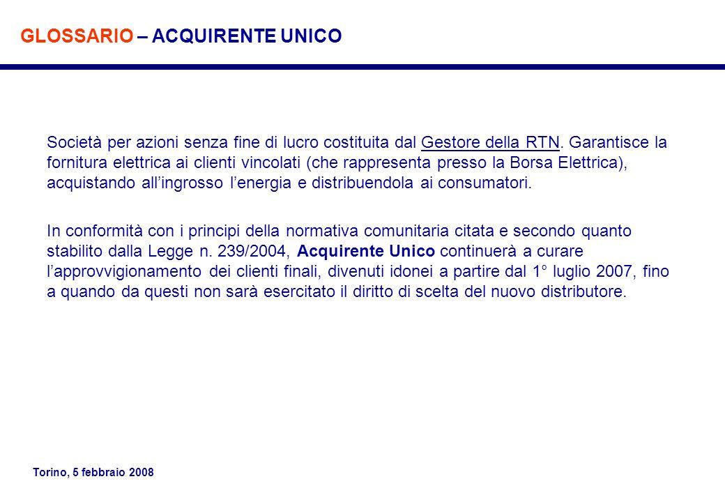 Torino, 5 febbraio 2008 Società per azioni senza fine di lucro costituita dal Gestore della RTN. Garantisce la fornitura elettrica ai clienti vincolat