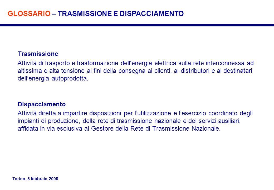 Torino, 5 febbraio 2008 Trasmissione Attività di trasporto e trasformazione dell'energia elettrica sulla rete interconnessa ad altissima e alta tensio