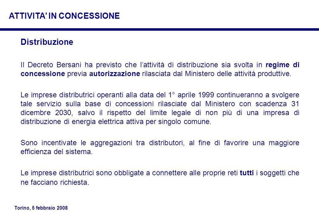 Torino, 5 febbraio 2008 Distribuzione Il Decreto Bersani ha previsto che lattività di distribuzione sia svolta in regime di concessione previa autoriz