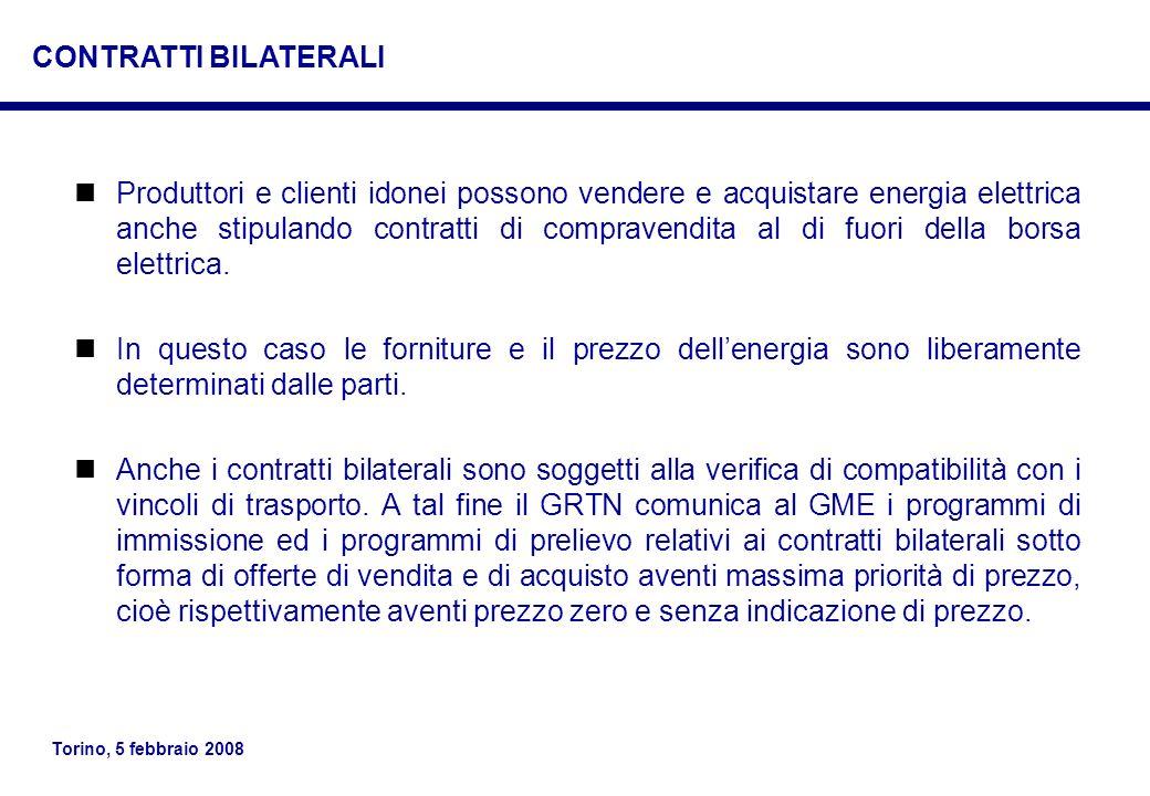Torino, 5 febbraio 2008 Produttori e clienti idonei possono vendere e acquistare energia elettrica anche stipulando contratti di compravendita al di f