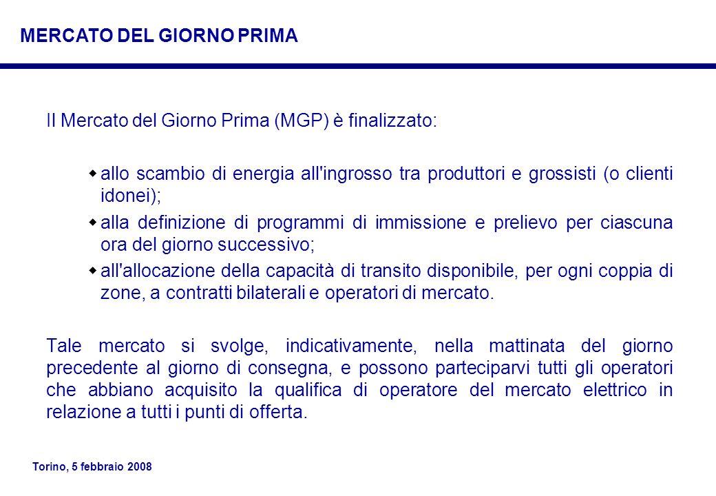 Torino, 5 febbraio 2008 Il Mercato del Giorno Prima (MGP) è finalizzato: allo scambio di energia all'ingrosso tra produttori e grossisti (o clienti id