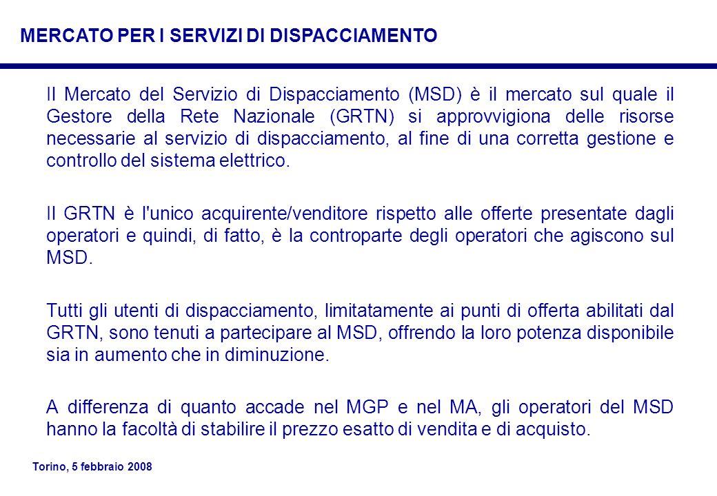 Torino, 5 febbraio 2008 Il Mercato del Servizio di Dispacciamento (MSD) è il mercato sul quale il Gestore della Rete Nazionale (GRTN) si approvvigiona