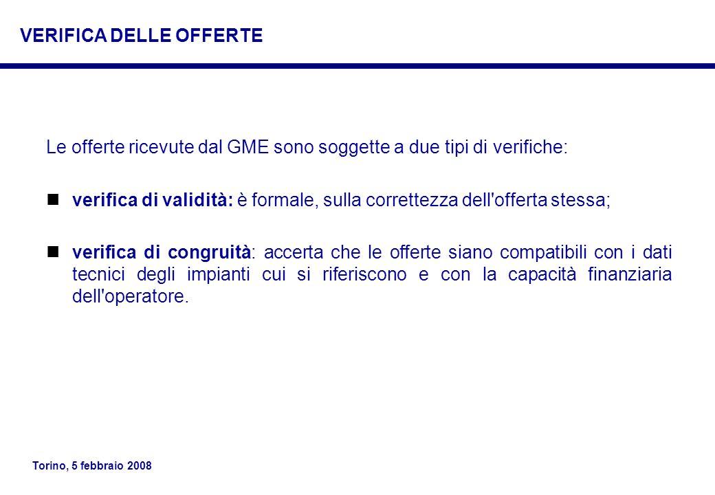 Torino, 5 febbraio 2008 Le offerte ricevute dal GME sono soggette a due tipi di verifiche: verifica di validità: è formale, sulla correttezza dell'off