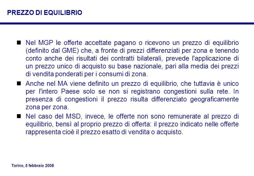 Torino, 5 febbraio 2008 Nel MGP le offerte accettate pagano o ricevono un prezzo di equilibrio (definito dal GME) che, a fronte di prezzi differenziat
