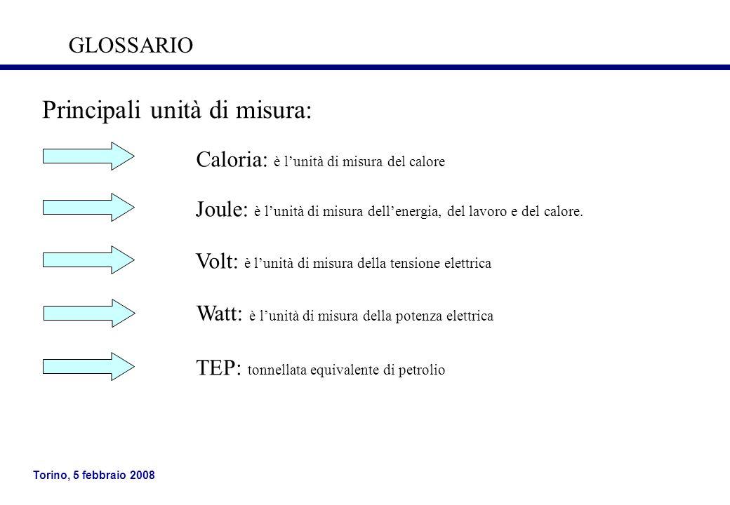 Torino, 5 febbraio 2008 Principali unità di misura: Joule: è lunità di misura dellenergia, del lavoro e del calore. Volt: è lunità di misura della ten
