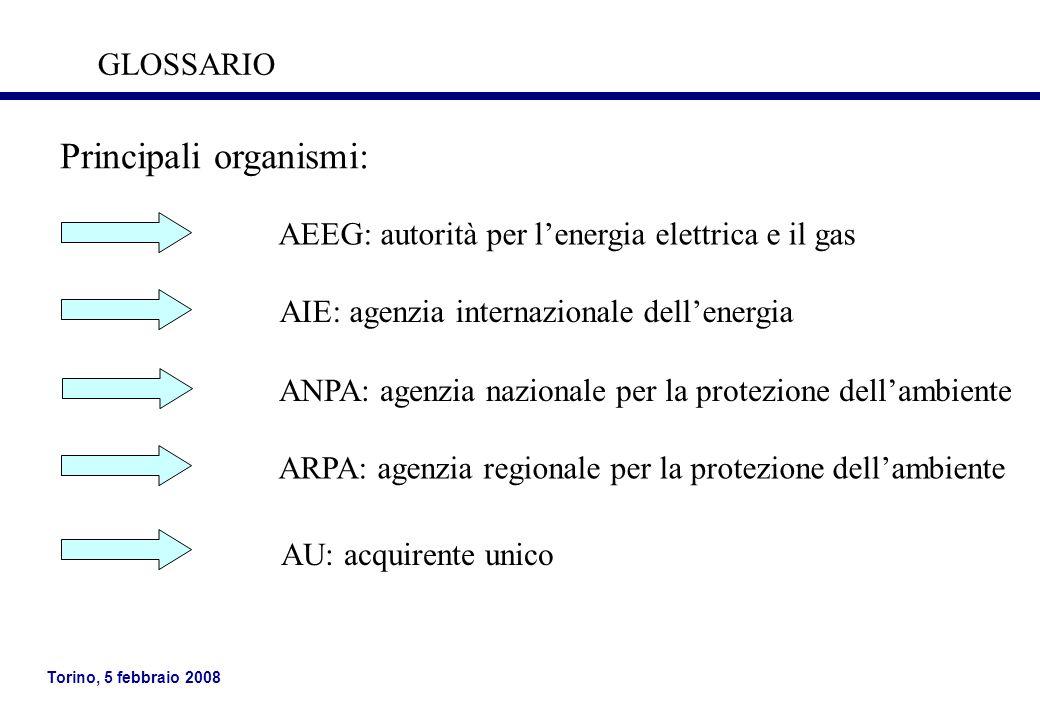 Torino, 5 febbraio 2008 Principali organismi (segue): GME: gestore del mercato elettrico GSE: gestore dei servizi elettrici GRTN: gestore delle rete di trasmissione nazionale GLOSSARIO