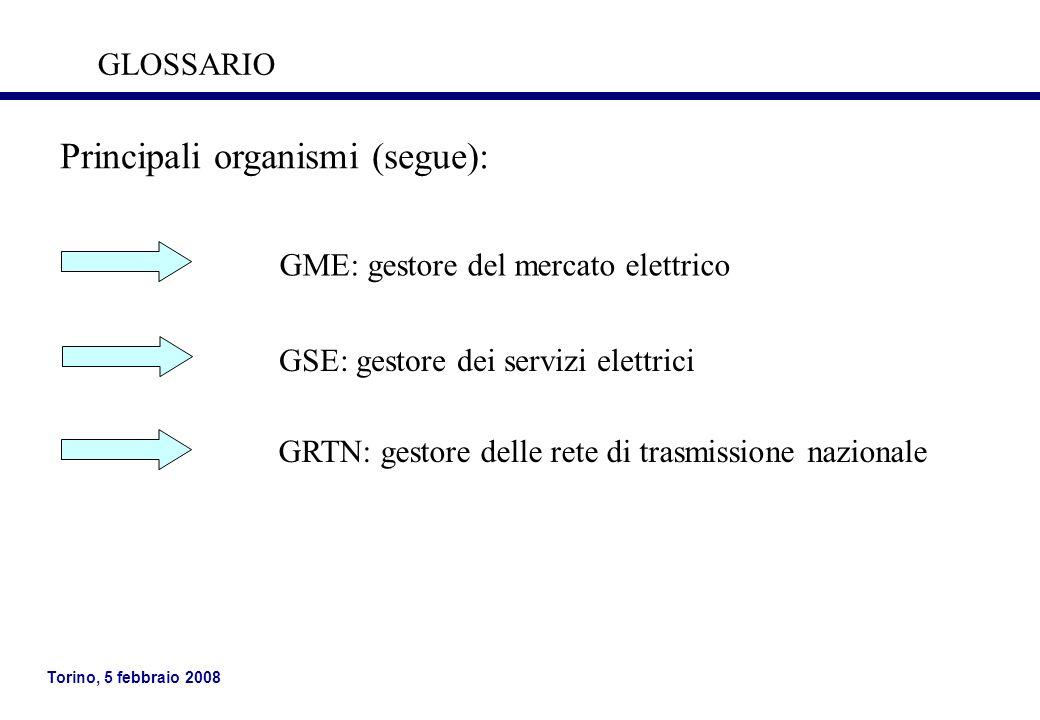 Torino, 5 febbraio 2008 Principali organismi (segue): GME: gestore del mercato elettrico GSE: gestore dei servizi elettrici GRTN: gestore delle rete d