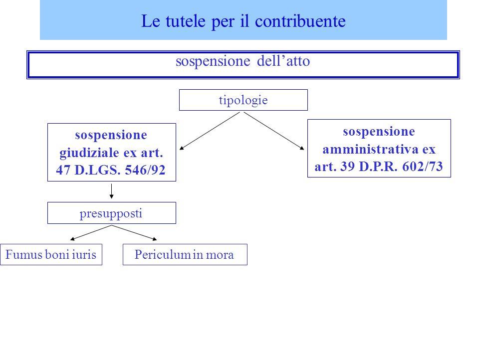 Le tutele per il contribuente sospensione dellatto sospensione giudiziale ex art. 47 D.LGS. 546/92 sospensione amministrativa ex art. 39 D.P.R. 602/73