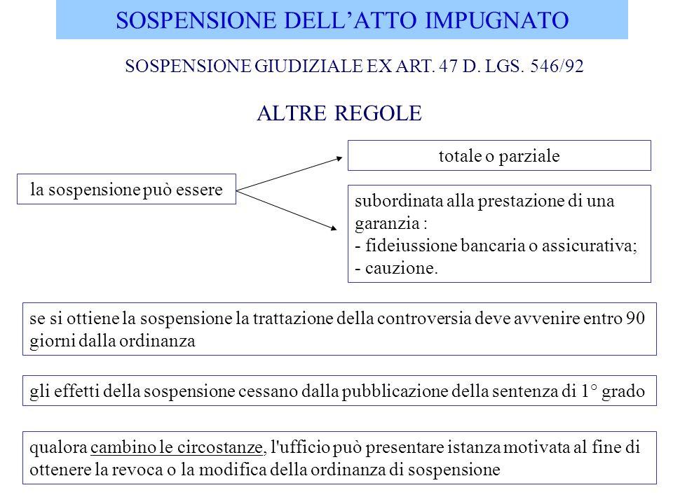 SOSPENSIONE DELLATTO IMPUGNATO ALTRE REGOLE la sospensione può essere totale o parziale se si ottiene la sospensione la trattazione della controversia