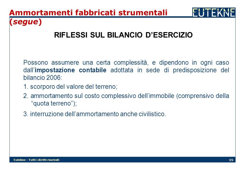 Eutekne – Tutti i diritti riservati 15 Ammortamenti fabbricati strumentali (segue) RIFLESSI SUL BILANCIO DESERCIZIO Possono assumere una certa comples