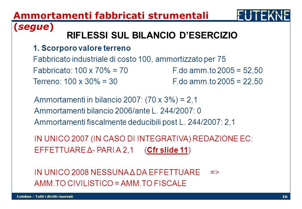 Eutekne – Tutti i diritti riservati 16 Ammortamenti fabbricati strumentali (segue) RIFLESSI SUL BILANCIO DESERCIZIO 1. Scorporo valore terreno Fabbric