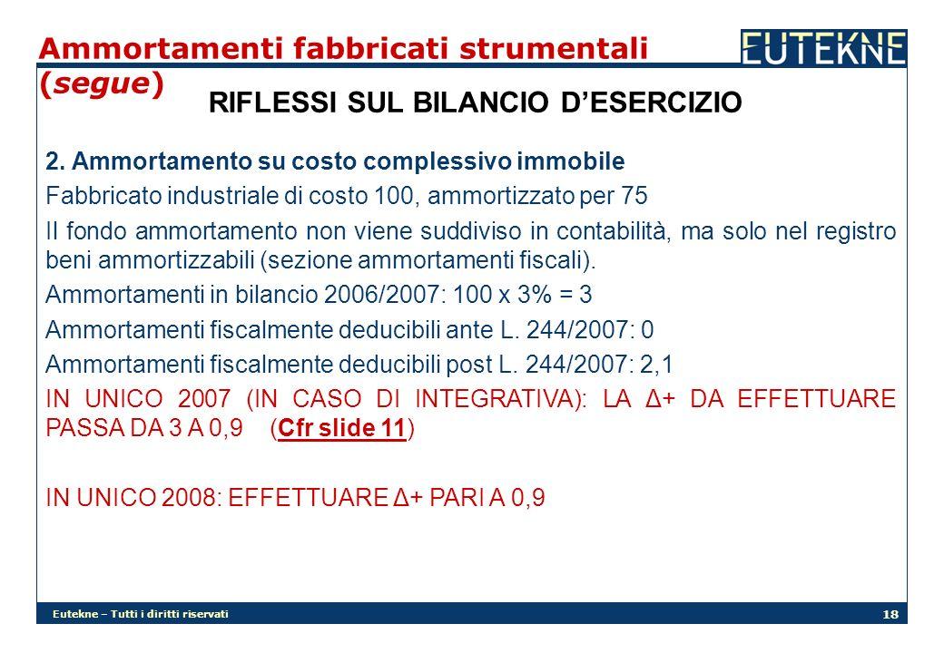 Eutekne – Tutti i diritti riservati 18 Ammortamenti fabbricati strumentali (segue) RIFLESSI SUL BILANCIO DESERCIZIO 2. Ammortamento su costo complessi