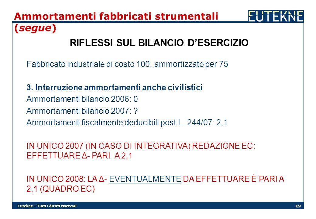 Eutekne – Tutti i diritti riservati 19 Ammortamenti fabbricati strumentali (segue) RIFLESSI SUL BILANCIO DESERCIZIO Fabbricato industriale di costo 100, ammortizzato per 75 3.