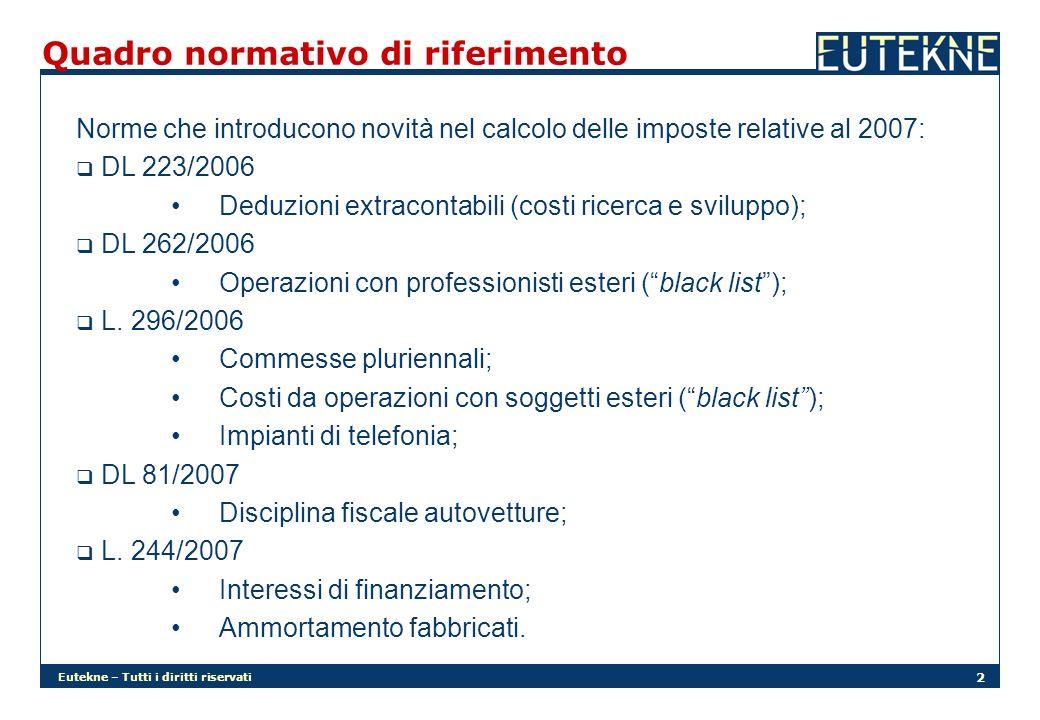 Eutekne – Tutti i diritti riservati 2 Quadro normativo di riferimento Norme che introducono novità nel calcolo delle imposte relative al 2007: DL 223/2006 Deduzioni extracontabili (costi ricerca e sviluppo); DL 262/2006 Operazioni con professionisti esteri (black list); L.