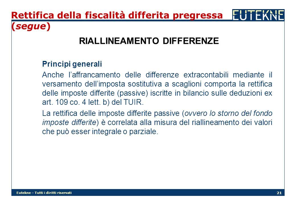 Eutekne – Tutti i diritti riservati 21 Rettifica della fiscalità differita pregressa (segue) RIALLINEAMENTO DIFFERENZE Principi generali Anche laffran