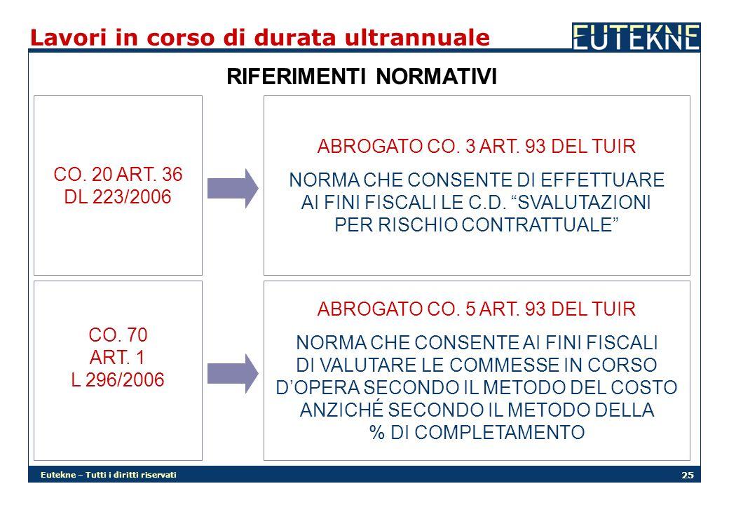 Eutekne – Tutti i diritti riservati 25 Lavori in corso di durata ultrannuale RIFERIMENTI NORMATIVI CO. 20 ART. 36 DL 223/2006 CO. 70 ART. 1 L 296/2006
