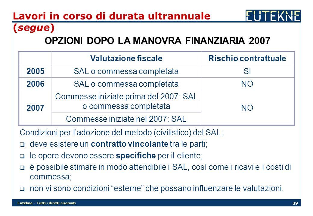 Eutekne – Tutti i diritti riservati 29 Lavori in corso di durata ultrannuale (segue) OPZIONI DOPO LA MANOVRA FINANZIARIA 2007 Valutazione fiscaleRisch