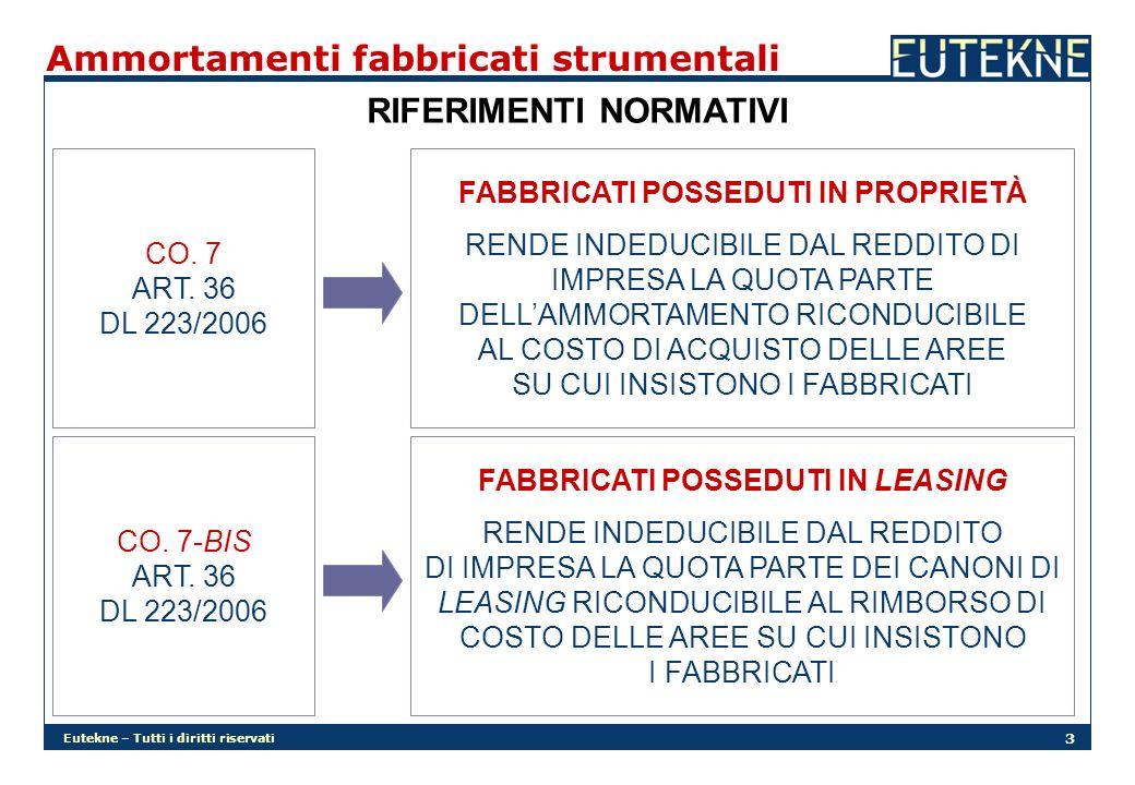 Eutekne – Tutti i diritti riservati 3 CO. 7 ART. 36 DL 223/2006 CO. 7-BIS ART. 36 DL 223/2006 FABBRICATI POSSEDUTI IN PROPRIETÀ RENDE INDEDUCIBILE DAL